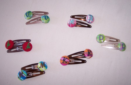 Monogrammed Button Hair Clips