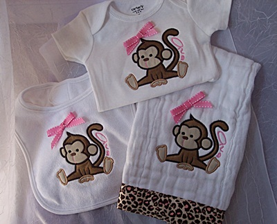 Applique Onesie, Bib and Burp set
