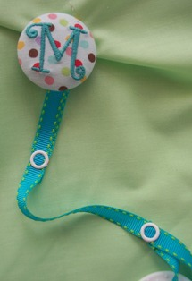 Monogrammed Button Pacifier  Clip