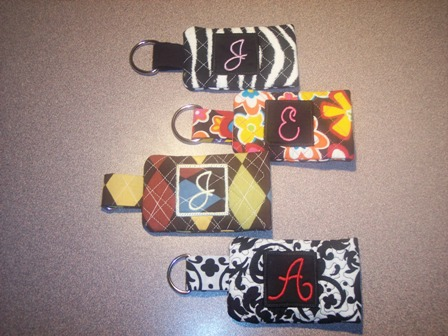 Monogrammed Quilted Pocket ID Holder and Keychain