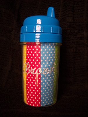 Rainbow Stripes and Dots Sippy Cup
